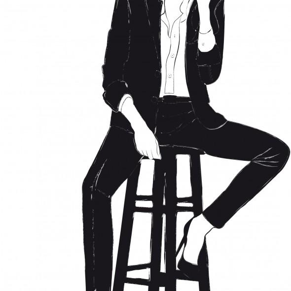 Illustration du portrait de la star Angelina Jolie. En smoking noir, signé Hedi Slimane, l'actrice rit aux éclats. Des étoiles dansent autour de sa chevelure. Vive le glamour !