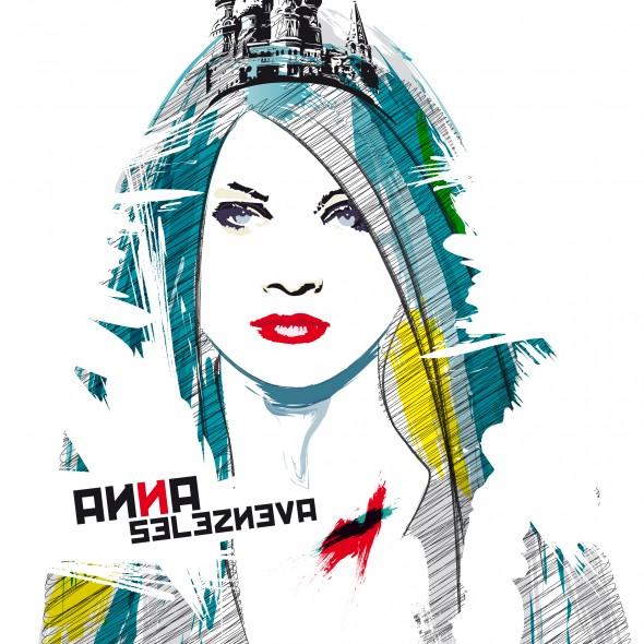 Illustration du portrait du mannequin russe Anna Selezneva. Elle porte un diadème représentant la célèbre cathédrale Basile le Bienheureux située sur la place rouge à Moscou.