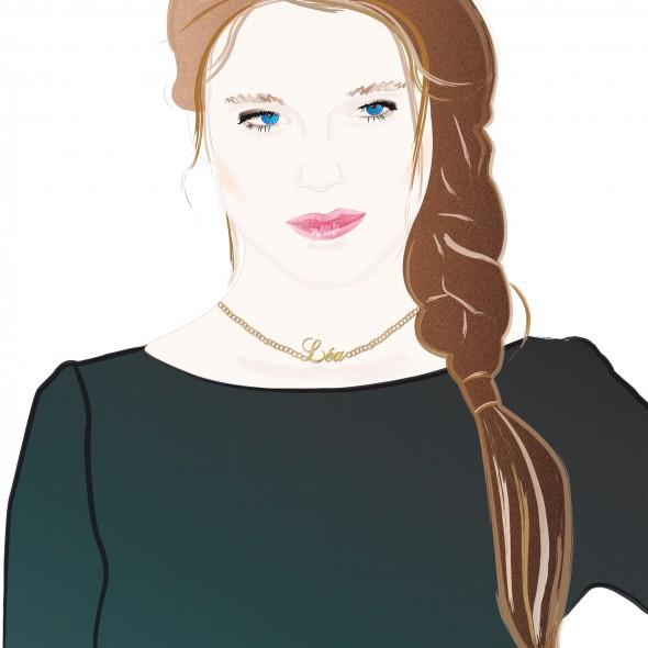 Illustration du portrait de l'actrice française Léa Seydoux. Elle est rentrée dans le cercle très fermé des James Bond Girl avec le dernier opus de l'agent 007, le Spectre. Elle a reçu la palme d'or au festival Cannes en 2013 pour le film La Vie d'Adèle.