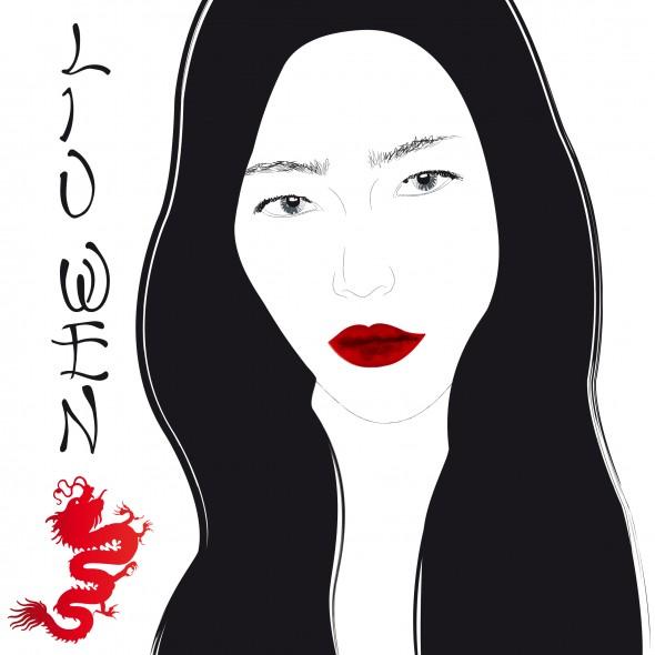 Illustration du portrait noir et blanc du top model Liu Wen, premier mannequin chinois à défiler pour la marque de lingerie Victoria's Secret. Un dragon rouge signe son nom.