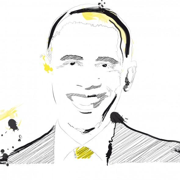 Illustration du portrait du président des Etats-Unis, Barack Obama, dans un style crayonné.