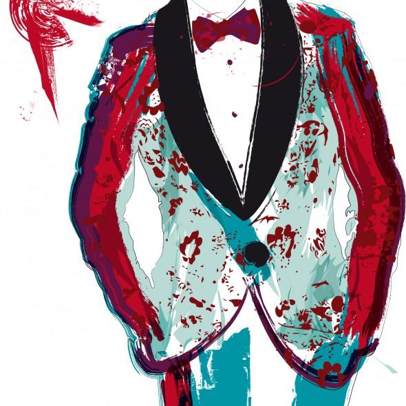 Illustration de la star de R'n'B Pharrell Williams, célébré dans le monde entier avec sa chanson Happy. Vêtu d'un smoking à fleurs pourpre, des éclaboussures dansent autour de lui.