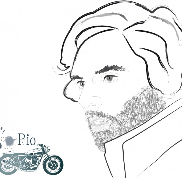 Illustration du portrait de l'acteur français Pio Marmai nominé en 2009 et 2011 au César du meilleur espoir masculin. Le comédien est illustré de profil avec une moto de la marque anglaise Norton.