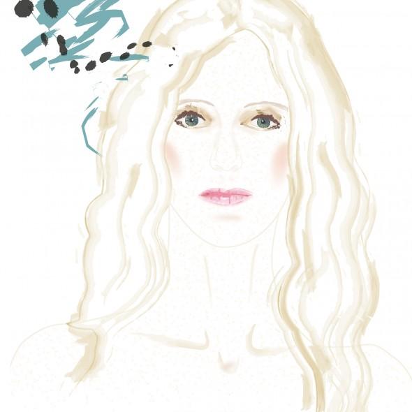 Illustration du portrait de l'actrice Sandrine Kiberlain. Sa peau diaphane est constellée de taches de rousseur. Son regard est pénétrant. Sa beauté évoque le célèbre tableau de Botticelli, la naissance de Vénus.