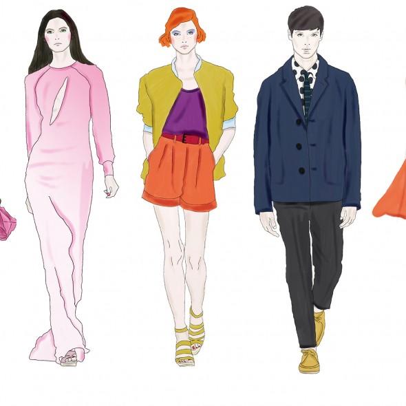 Illustration de cinq silhouettes, 4 femmes et un homme, qui défilent. Les vêtements sont signés Michael Kors et Léonard.