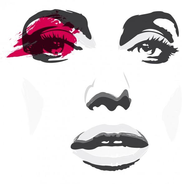 Illustration du portrait en très gros plan de la star américaine Angelina Jolie. Son regard est pénétrant. Sa bouche est entrouverte. Elle incarne le glamour.