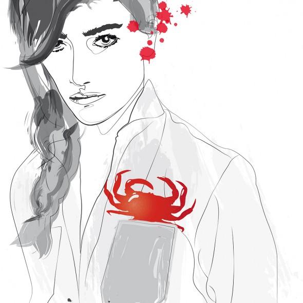 Illustration du portrait d'une jeune femme du signe du zodiaque du Cancer. Son regard est pénétrant. Un crabe pourpre jaillit de la poche de sa chemise.