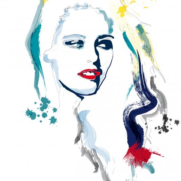 Illustration du portrait de l'actrice américaine Kristen Stewart, célèbre au cinéma pour la série Twilight. Des éclaboussures de couleur jaillissent de sa chevelure.