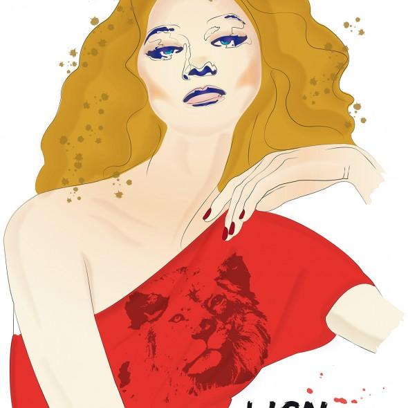 Illustration du portrait d'une femme du signe du zodiaque du Lion. Elle est étincelante. Sa chevelure flamboyante repose sur ses épaules. Des taches dorées dansent autour d'elle.