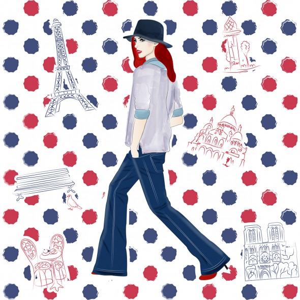 Illustration d'une Parisienne se promenant dans Paris. La Tour Eiffel, le Sacré-Cœur, Notre-Dame, un banc public, une table de bistrots et une colonne Morris sont illustrés.