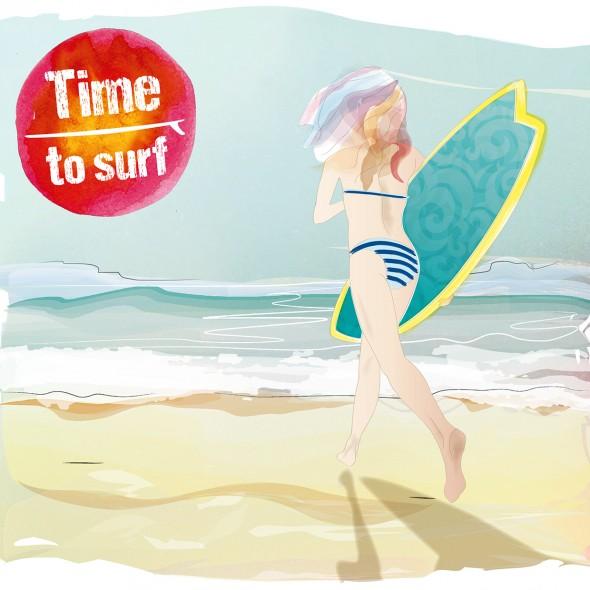 Illustration en couleur d'une jeune fille courant sur la plage avec sa planche de surf sous le bras. Elle porte un maillot de bain rayé et foule le sable doré vers les vagues.