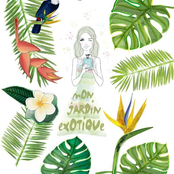 Illustration d'une jeune femme tenant un flacon de parfum dans un jardin tropical avec des feuilles de palmier, une fleur de frangipanier, un oiseau de paradis et un toucan.
