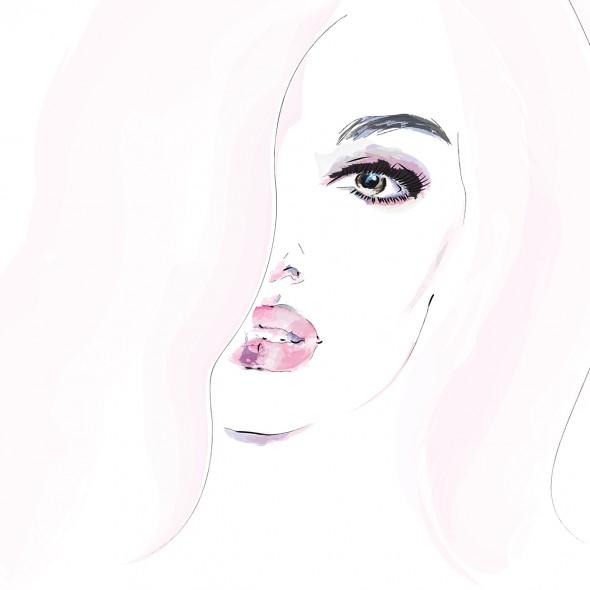 Illustration du portrait en gros plan d'une femme aux lèvres entrouvertes. Ses cheveux sont rose pâle. Elle est à la fois sensuelle et émouvante.