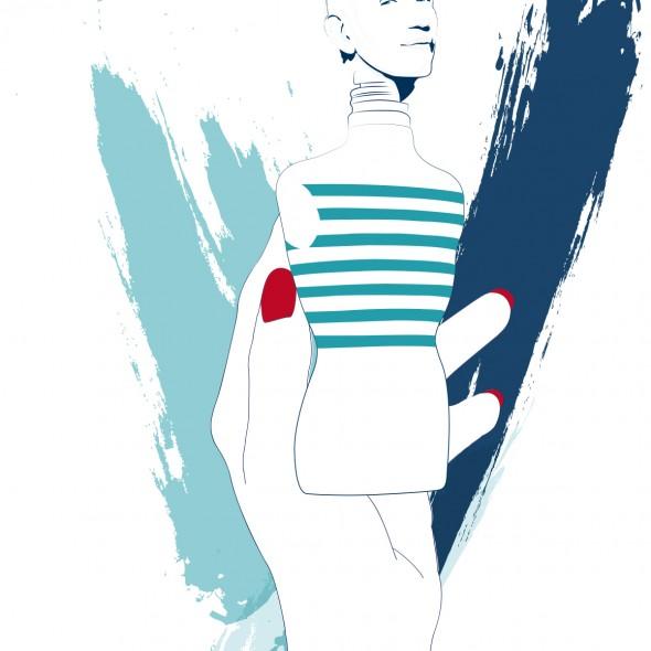Illustration du portrait du styliste Jean Paul Gaultier. La tête du célèbre couturier français est érigée au sommet du flacon de parfum pour homme, Le Mâle.