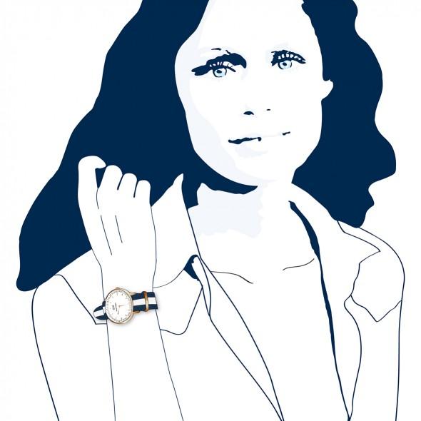 Illustration du portrait de Lauren Hutton, icône du style des années 70 et 80. Reine du easy wear mixant des pièces masculines avec des classiques féminins. Elle porte une montre Wellington.