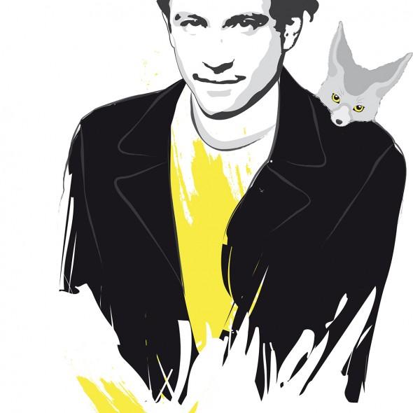 Illustration du portrait du rappeur auteur-compositeur-interprète Nekfeu illustré avec un fennec sur son épaule. Une éclaboussure jaune jaillit.