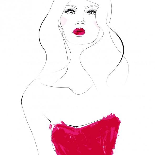 Illustration du portrait d'une jeune femme en robe bustier rose profond. Elle porte des cheveux longs et un rouge à lèvres rose vif.