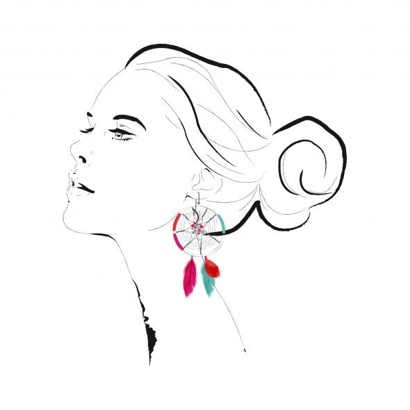 Illustration du portrait d'une jeune femme de profil avec un chignon et une boucle d'oreille catchdreamer composée de perles et de plumes roses, turquoise et orange.