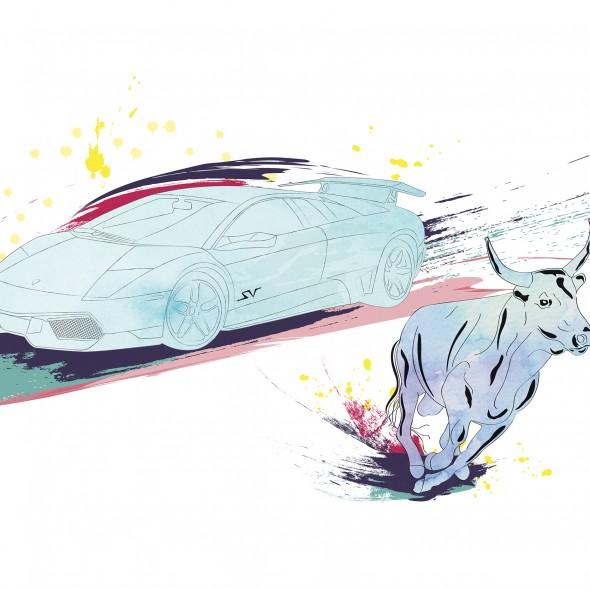 Illustration d'une automobile Lamborghini Gallardo roulant à vive allure. Un taureau galope à ses côtés. Des éclaboussures de couleurs jaillissent.