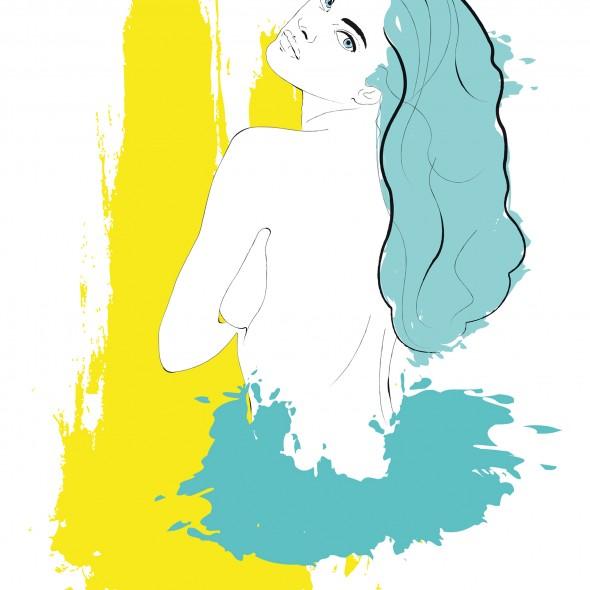 Illustration en couleur du portrait du célèbre mannequin russe Natalia Vodianova nue de dos. Des éclaboussures jaunes et turquoises jaillissent avec force.
