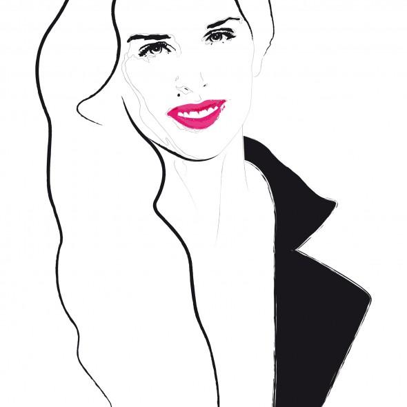 Illustration du portrait de la réalisatrice et actrice Maïwenn. Elle sourit et porte un rouge à lèvres rose vif.