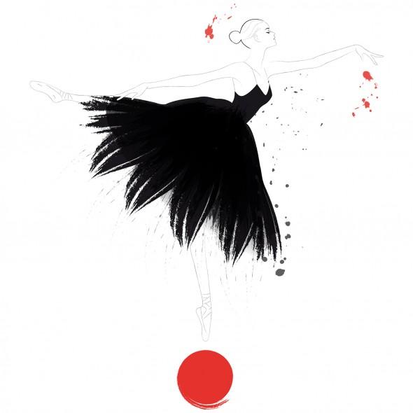 Illustration d'une danseuse classique dans un tutu noir à plumes en équilibre sur un ballon. Elle est porte avec grâce des chaussons de danse à pointe.