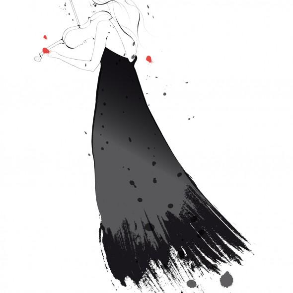 Illustration d'une jeune femme jouant du violon de dos. Elle porte une longue robe noire avec des plumes. Des éclaboussures noires et oranges tournoient autour d'elle.