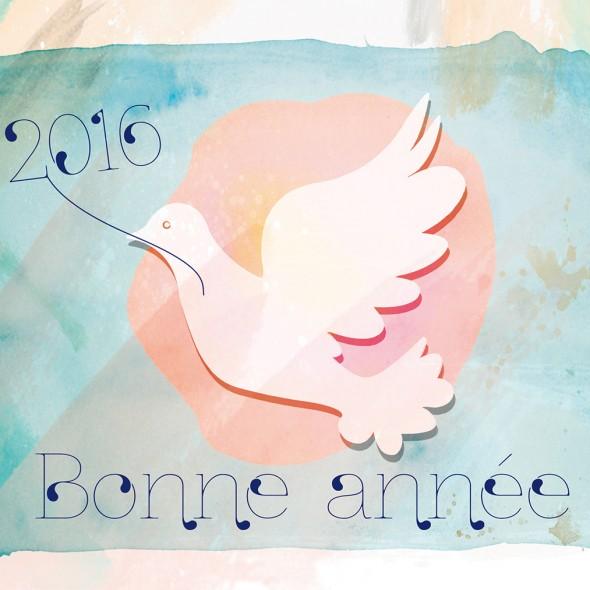 Dessin d'une colombe blanche sur un fond de couleur pastel. L'oiseau tient délicatement dans son bec un brin orné des chiffres qui composent l'année 2016.