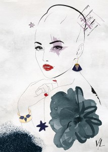 Illustration pour la créatrice de bijoux CharlyJames, des pièces originales et pop en cuir, graphiques, colorés et féminins.
