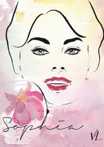 Illustration du portrait de la célèbre actrice italienne Sophia Loren.