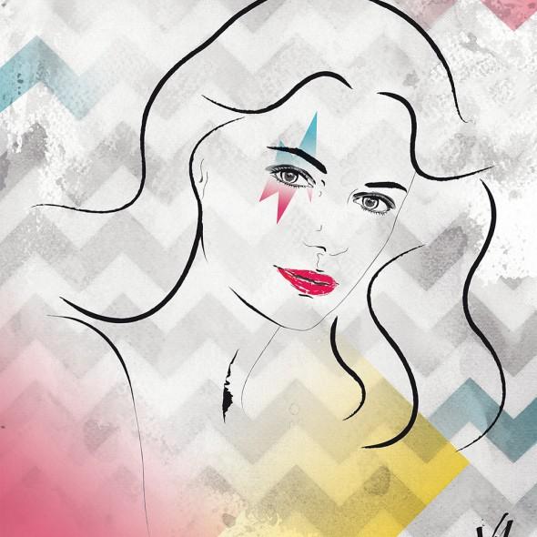 Illustration du portrait de l'actrice britannique Jacqueline Bisset.